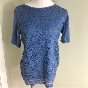 Tops - SoHo Jean Blue Lined Lace Women's Short Sleeve Top